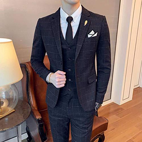 GFRBJK Männer Business Und Casual Bankett Kleid 3 Stücke Anzüge Mann Professionelle Einfarbig Plaid Set Kostüm Homme , Schwarz , - 3 Stück Plaid Kostüm