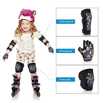 MOVTOTOP Kinder Knie- und Ellbogenschoner mit Fahrradhandschuhen Kleinkind-Schutzausrüstung für Skateboard, Rollschuhlaufen, Schutzausrüstung für Mädchen Jungen Kinder - L/XL