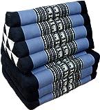 Guru-Shop Cuscino Thai, Cuscino Triangolo, Kapok, Lettino da Giorno con 3 Cuscini - Nero/blu, 30x50x160 cm, Cuscino Thai / 3 Supporti
