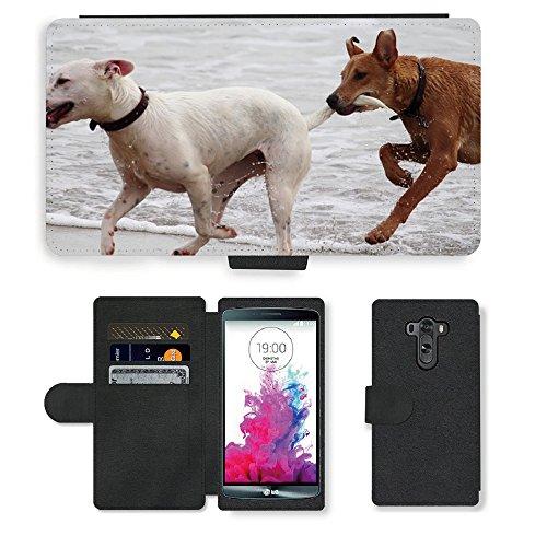 Just Phone Cases PU LEDER LEATHER FLIP CASE COVER HÜLLE ETUI TASCHE SCHALE // M00421764 Hunde Stöckchen zu spielen Beißen Romp // LG G3