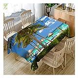 ZHAOXIANGXIANG Digital Bedruckte Polyester Wasserdicht Tabelle Mat 3D Beach Resort Landschaft Home Decor Tischdecke,140Cm×280Cm