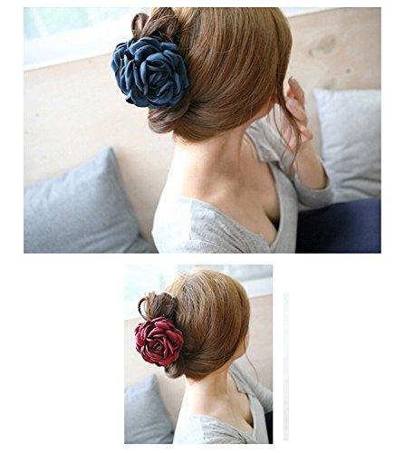 Haarklemme Rose Haarspangen, Rose Hair Clips Stoff große Blume Haar-Greifer Clips Pins 2 Stücke