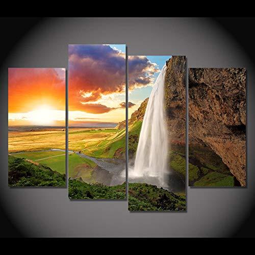 ZUMOOY Wohnzimmer HD Gedruckt Wandkunst Bilder Malerei 4 Stück/Stücke Wasserfall Grünland Sonnenaufgang Ansicht Moderne Wohnkultur Plakatrahmen @ 20x40 20x60 cm mit Rahmen - Ansicht 16x20 Foto