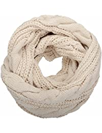 NEOSAN Womens Thick Ribbed Knit Winter Infinity Circle Loop Scarf Twist  Khaki 7c1ec34d9c97