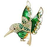 EVER FAITH® Cristal Autrichien Email Oiseau Aimable Broche Pin Ton d'Or