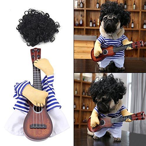 Fdit Haustier Kostüm Kleidung Hund Katze Lustige Gitarrist Stil Kostüm Haustieranzug in Premium - Wirklich Lustige Kostüm