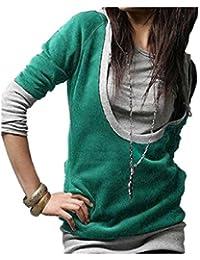 LSWA 5 Farben Damen Longshirt Kapuzen Pullover Jacke Sweatjacke Hoody Tunika Shirt 2312