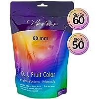 Vibratissimo Paquet de 50 Préservatifs Colorés/Aromatisés pour des Sensations Pures/Naturelles Extra Lubrifiés, 60 mm