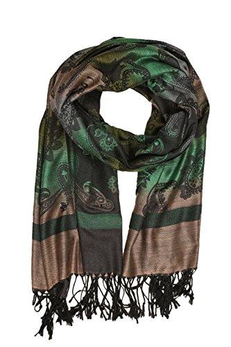 Sakkas CHS155 - Sakkas Marley Ombre gestreifte Paisley Pashmina / Schal / Wrap / Stole - grün - One Size Regular (Ombre-streifen-schals)
