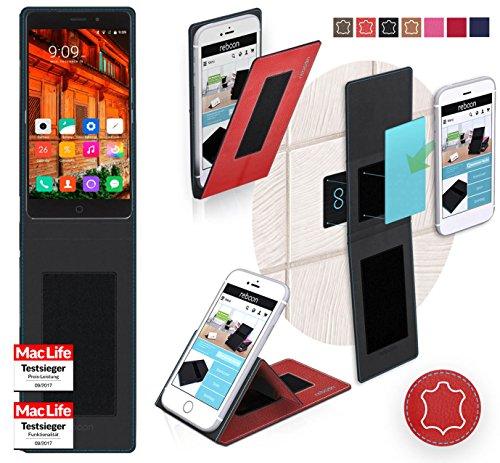 reboon Hülle für Elephone P9000 Lite Tasche Cover Case Bumper | Rot Leder | Testsieger
