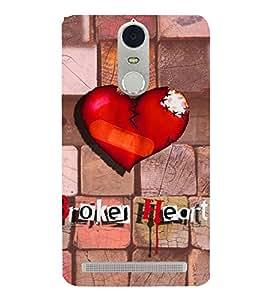 PrintVisa Romantic Love Broken Heart 3D Hard Polycarbonate Designer Back Case Cover for Lenovo K5 Note
