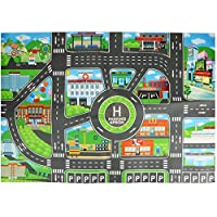 perfecti Children City Parking Map Toy Foldable Non-woven Fabric Kids Play Mat City Road Buildings Parking Map Game Educational Play Mats Toys, English Version, 8358cm