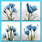 Amosi Art elegante Tulip Blumen Leinwand Kunstdruck Wandbilder Gemälde für Living Room Decor und moderne Home Dekorationen, Blue Flower 12x12inx4pcs, 12x12inchx4pcs