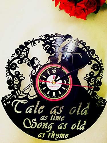 Schöne und Das Biest Schallplatten Stille Wanduhr Kreative Handarbeit Geschenk für Weihnachten Halloween Kinder Vintage Studio und Freundin (30 cm Schwarz Runde) ()