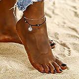 Yean Sun Colgante, tobillera, pulsera de tobillo de plata, cadena trenzada del pie para mujeres y niñas