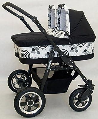 Carro gemelar 3en1. 2 capazos + 2 sillas + 2 grupo 0 + accesorios