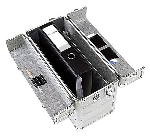 Aluminium Pilotenkoffer Alu-Koffer Aktenkoffer mit Schultergurt 3-fach Rille