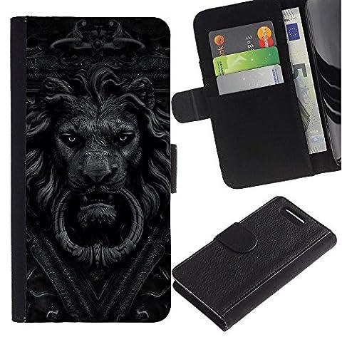 For Sony Xperia Z1 Compact / Z1 Mini / D5503,S-type® Doorbell Lion Grey Black White Doorknob - Dessin PU cuir Wallet style Skin Cas Case Coque étui de protection