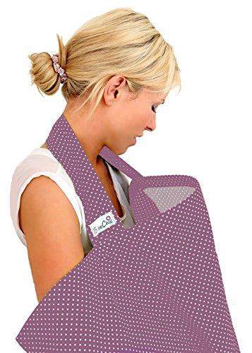 BebeChic * 100% Cotton * Breastfeeding Cover *105 x 69* Boned Nursing Apron with drawstring Storage Bag plum / ivory dot