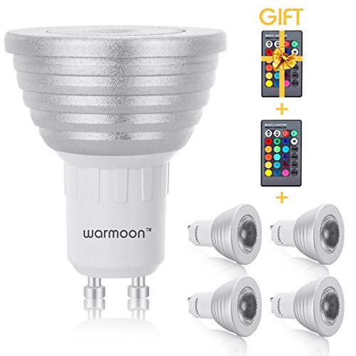 warmoon  Dimmable GU10 LED Bulbs 3W RGBW Color Ambiance and Daylight White Spotlight with IR Remote Control Mood Ambiance Lighting for Home Decoration Bar Party Pack of 4 Silver
