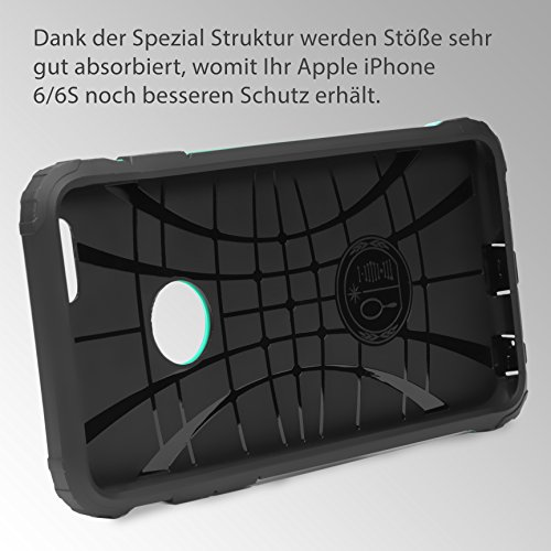 Original Urcover® Apple iPhone 6 Plus / 6s Plus Hülle Steel Series Hybrid mit [Kantenschutz] Handyhülle [Schwarz] Bumper Cover Back Case Etui Schutzhülle für TOP Handyschutz Mint Grün