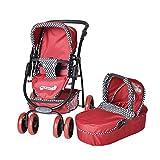 Knorrtoys 92907 Coco Rockabella - Cochecito combi para muñecos (incluye silla de paseo y capazo), color rojo