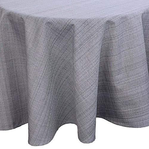 heimtexland ® Outdoor-Tischwäsche Meliert Garten Deko Tischdecke rund 145 Grau Typ645
