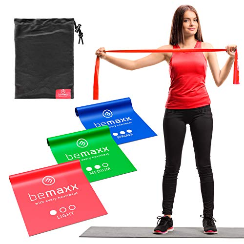 Fasce elastiche fitness set di 3 / lunghi 2 metri bande resistenza + ebook di esercizio e borsa | boxe crossfit pilates fisioterapia, glutei trazioni palestra casa sportiva kit, leggero medio forti