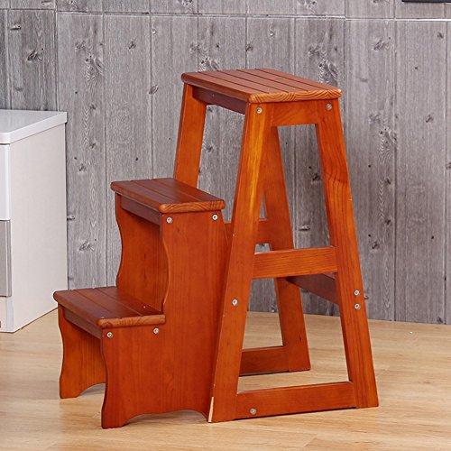YSNUK Klappstufen Massivholz Trittleiter Erhöhen Dreistufige Klappleiter Multifunktions-Haushaltsleiter Kreative Treppenstufenleiter Küche, Zuhause (Color : A)