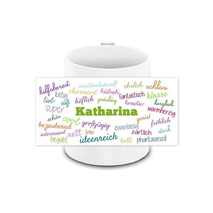 Tasse mit Namen Katharina und positiven Eigenschaften in Schreibschrift, weiss | Freundschafts-Tasse - Namens-Tasse