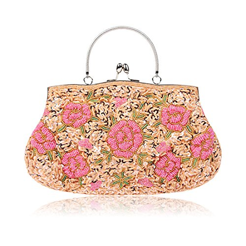 SSMK Sequin Clutch Bag, Poschette giorno donna Champagne