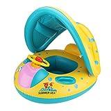 BasicStock Aufblasbares Pool Boot Schwimmen Ring Kinderkleinkind-Hilfe-Sitz-Boot mit Sun-Überdachung für das Alter 6 bis 24 Monate mit Lagerungstasche und Luftpumpe (Gelb)