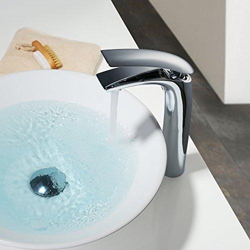 Homelody – Design-Waschtischarmatur, Einhebelarmatur, ohne Ablaufgarnitur, hoher Auslauf, Chrom - 4