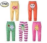Monvecle Ragazze del Bambino 5pcs Pacchetto Neonato per Bambini Cotone Lungo Pantaloni Cartone Regalo Set 18-24M