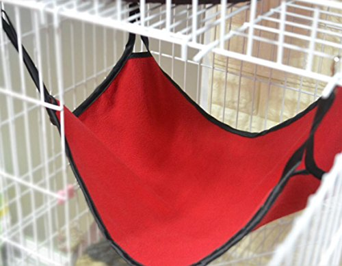 shanzwh atmungsaktiv mit doppeltem Verwendungszweck Pet Käfig Hängematte Pet Polar Fleece Hängematte (rot)