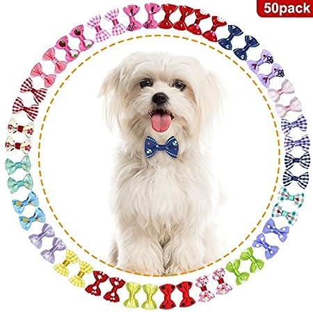 NATUCE 50 Stück Hunde-Haarschleifen,Pet Hair Bögen mit Gummi Bands,Haarschleifen-Clip für Hund Katze Grooming Haar Zubehör