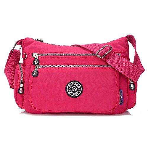 Suzone da donna in nylon borsa messenger a tracolla zainetto sportivo Pack Leisure borsa a tracolla, donna, Stars Rose Red