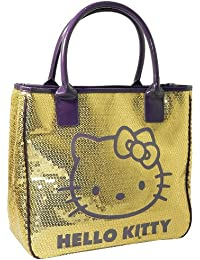HELLO KITTY CAMOMILLA SEQUINS LUXURY LARGE LADIES SHOULDER TOTE HAND BAG  GOLD ecfebaf29d3a2