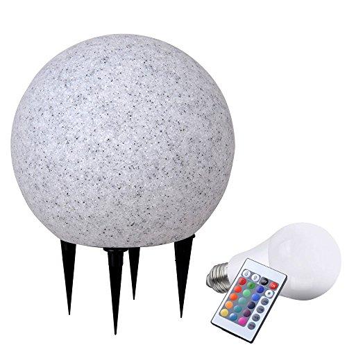 RGB LED 7,5 Watt Leuchte Kugel Steck Lampe Garten Deko Granit Stein Farbwechsler Dimmer