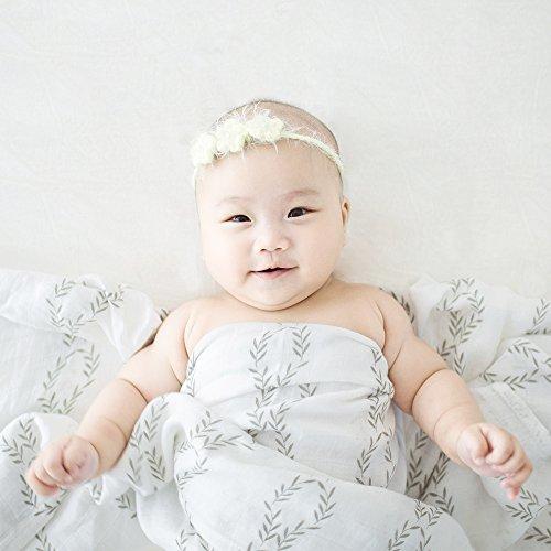 LifeTree Musselin Swaddle Pucktücher aus Puckdecken | (3 Pack, Blumen, Polka Dot, Leaf Print) XL Größe 120cm x 120cm | Mullwindeln für Junge und Mädchen