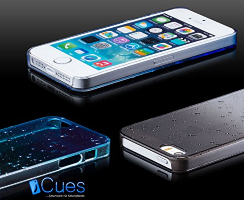 iCues Apple iPhone SE / 5S / 5 |  Wassertropfen Case Türkis | [Display Schutzfolie Inklusive] Transparent Klarsichthülle Durchsichtig Klare Klarsicht Schutzhülle Hülle Cover Schutz Blau