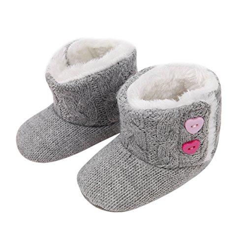 CHIC-CHIC 3-12 Monate krabbelschuhe Baby Winter Weich Sohle Krippe Soft Warm Knopf Wohnungen Boot Puschen (3-5 Monate, Rosa) Grau
