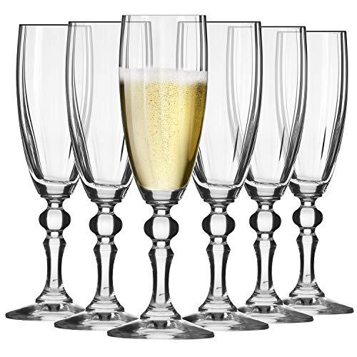 Krosno Sektgläser Champagner-Gläser Sektflöten   Set von 6   180 ML   Illumination Kollektion   Prosecco Glas   Perfekt für zu Hause, Restaurants und Partys   Spülmaschinenfest