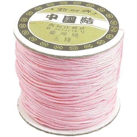 1mm Nailon Pulsera Rosa Cuerda Trenzada Nudo Chino Cola De Rata Cordón 150 Metros