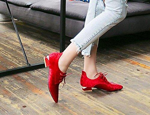 SHINIK Frauen Pumps Gold Samt Schuhe Low Profile Spitz Schuhe Sandalen Court Schuhe Red