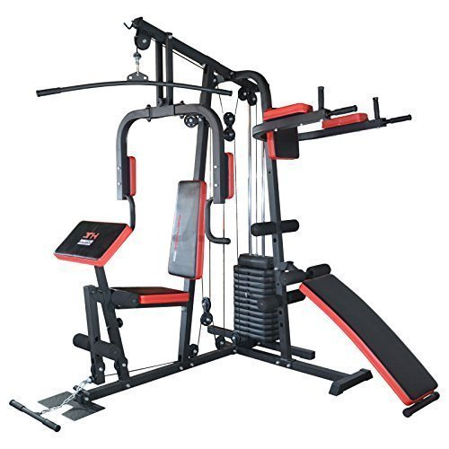 TrainHard HomeGym Multistation Fitnesscenter mit 65KG Gewichten inkl. Dipstation, Beinhebe & Sit-Up Bank