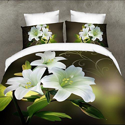 QHGstore 4pcs / set 3D Rosa fiori modello copertura completa del duvet insiemi romantici Insiemi dell'assestamento XIQI-025