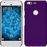 PhoneNatic Case für Google Pixel Hülle lila gummiert Hard-case + 2 Schutzfolien