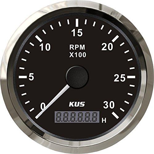 Kus Tachometer Drehzahlmesser Drehzahlmesser, wasserdicht, mit Stunde Meter 3000RPM 85mm 12V/24V mit Hintergrundbeleuchtung