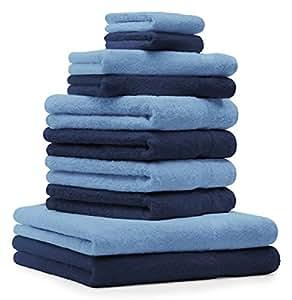 10 tlg. Handtuch Set Premium Farbe Dunkel Blau & hell Blau 100% Baumwolle 2 Duschtücher 4 Handtücher 2 Gästetücher 2 Waschhandschuhe